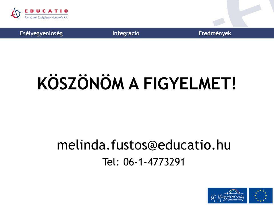 Esélyegyenlőség Integráció Eredmények KÖSZÖNÖM A FIGYELMET! melinda.fustos@educatio.hu Tel: 06-1-4773291