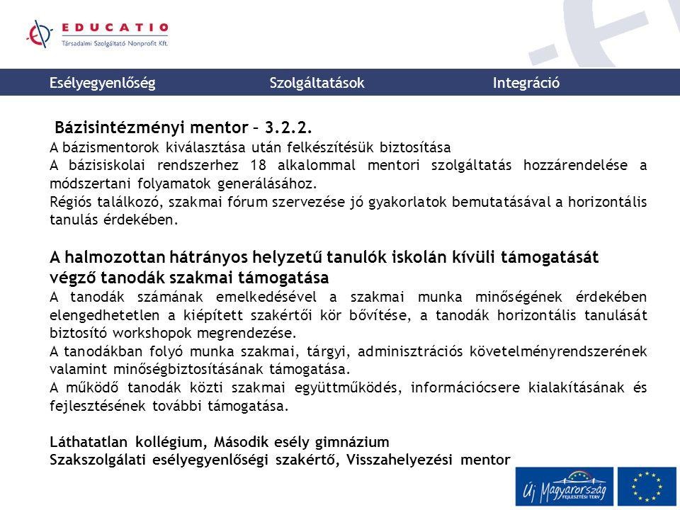 Esélyegyenlőség Szolgáltatások Integráció Bázisintézményi mentor – 3.2.2. A bázismentorok kiválasztása után felkészítésük biztosítása A bázisiskolai r