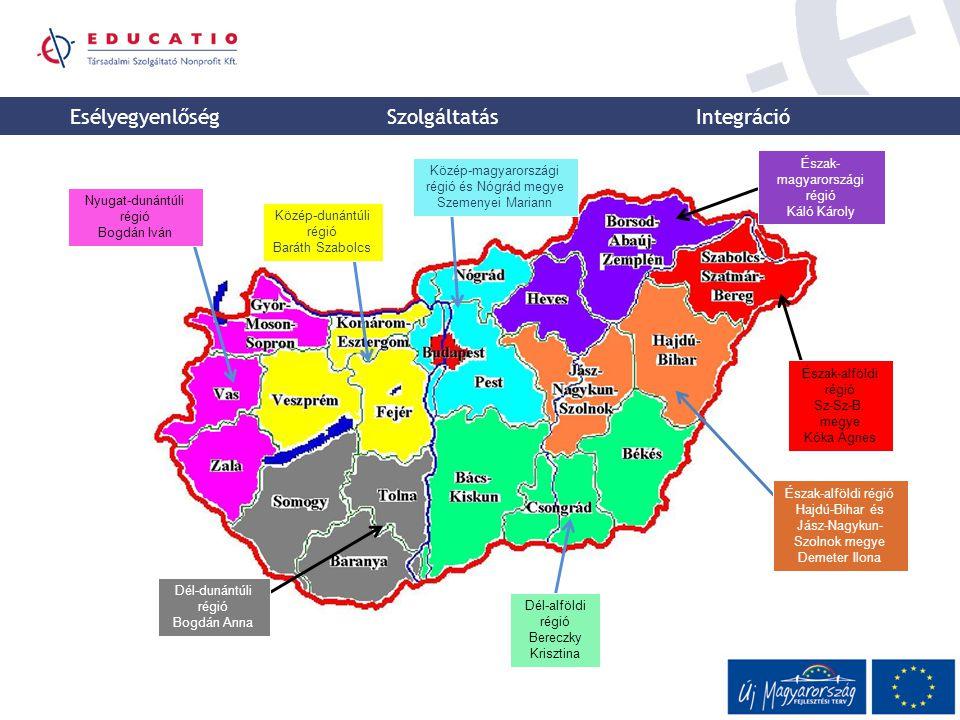 Esélyegyenlőség Szolgáltatás Integráció Nyugat-dunántúli régió Bogdán Iván Közép-dunántúli régió Baráth Szabolcs Dél-dunántúli régió Bogdán Anna Dél-a