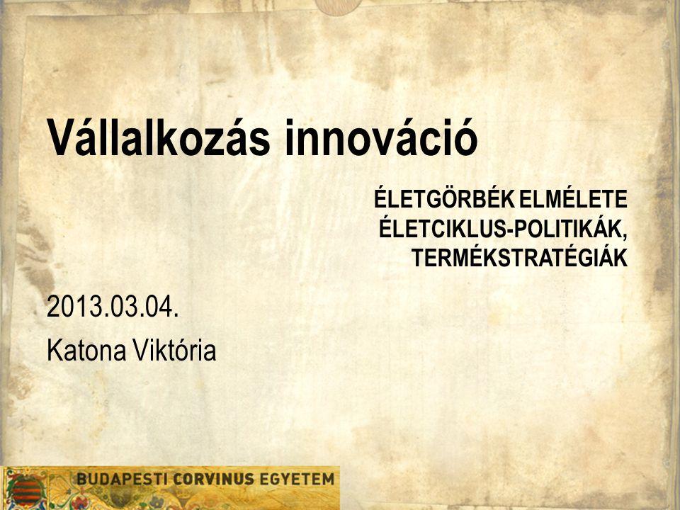 Vállalkozás innováció 2013.03.04. Katona Viktória ÉLETGÖRBÉK ELMÉLETE ÉLETCIKLUS-POLITIKÁK, TERMÉKSTRATÉGIÁK