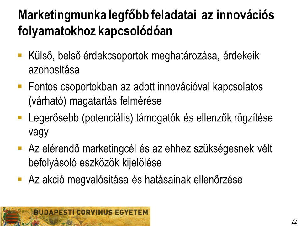 Marketingmunka legfőbb feladatai az innovációs folyamatokhoz kapcsolódóan  Külső, belső érdekcsoportok meghatározása, érdekeik azonosítása  Fontos c