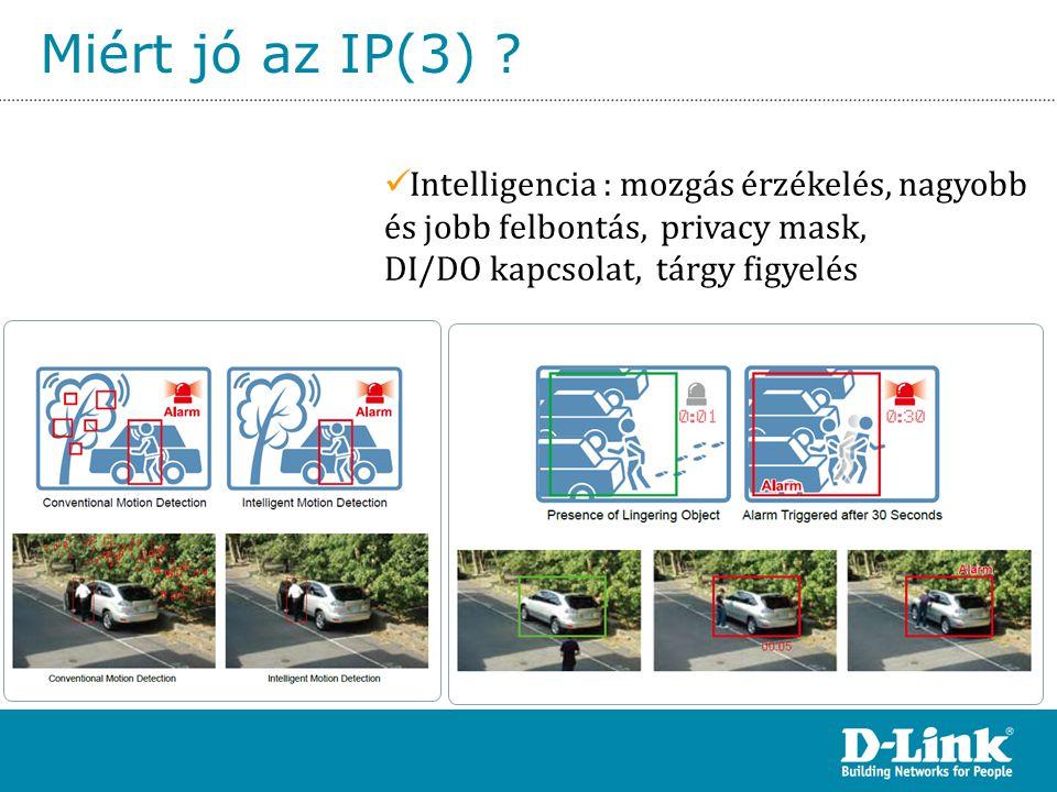 Miért jó az IP(3) ?  Intelligencia : mozgás érzékelés, nagyobb és jobb felbontás, privacy mask, DI/DO kapcsolat, tárgy figyelés