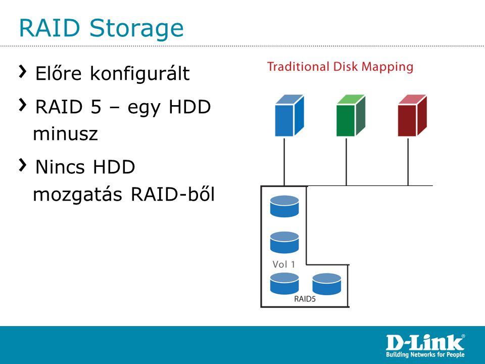 RAID Storage Előre konfigurált RAID 5 – egy HDD minusz Nincs HDD mozgatás RAID-ből