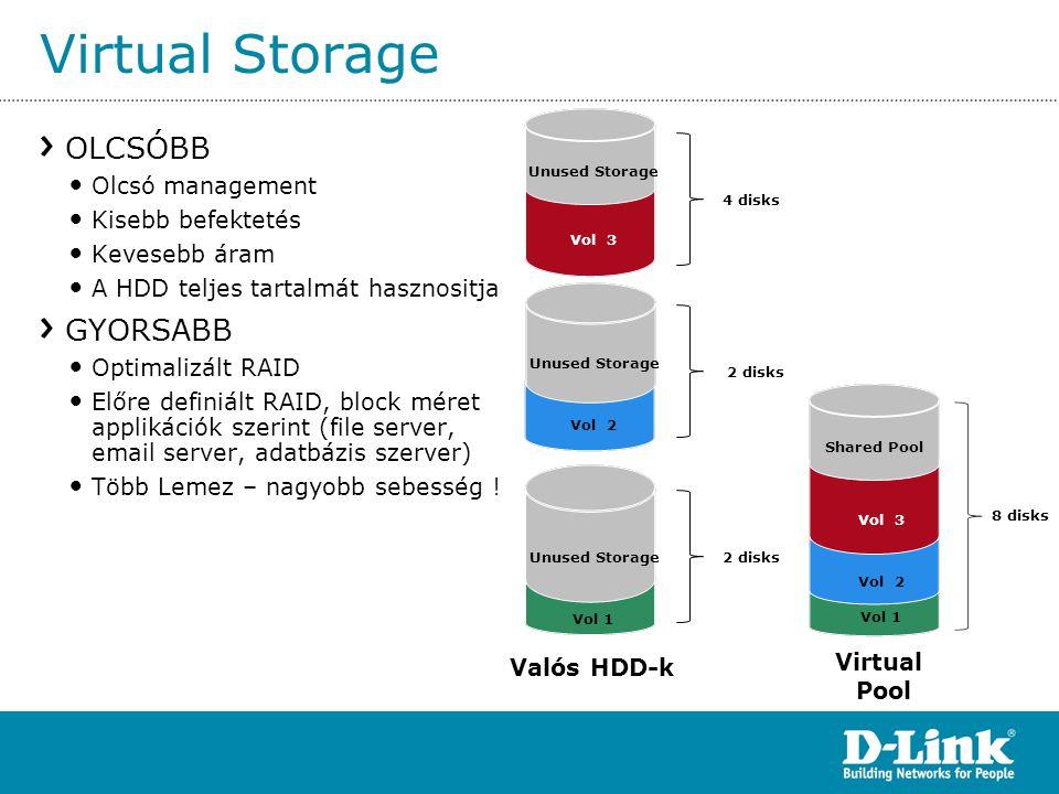 Virtual Storage OLCSÓBB • Olcsó management • Kisebb befektetés • Kevesebb áram • A HDD teljes tartalmát hasznositja GYORSABB • Optimalizált RAID • Elő
