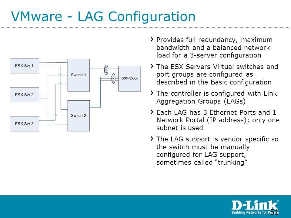 VMware - LAG Configuration Provides full redundancy, maximum bandwidth and a balanced network load for a 3-server configuration The ESX Servers Virtua
