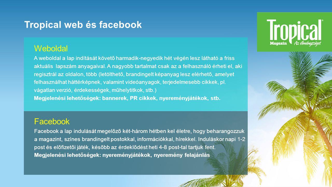 Tropical web és facebook Facebook Facebook a lap indulását megelőző két-három hétben kel életre, hogy beharangozzuk a magazint, színes brandingelt postokkal, információkkal, hírekkel.