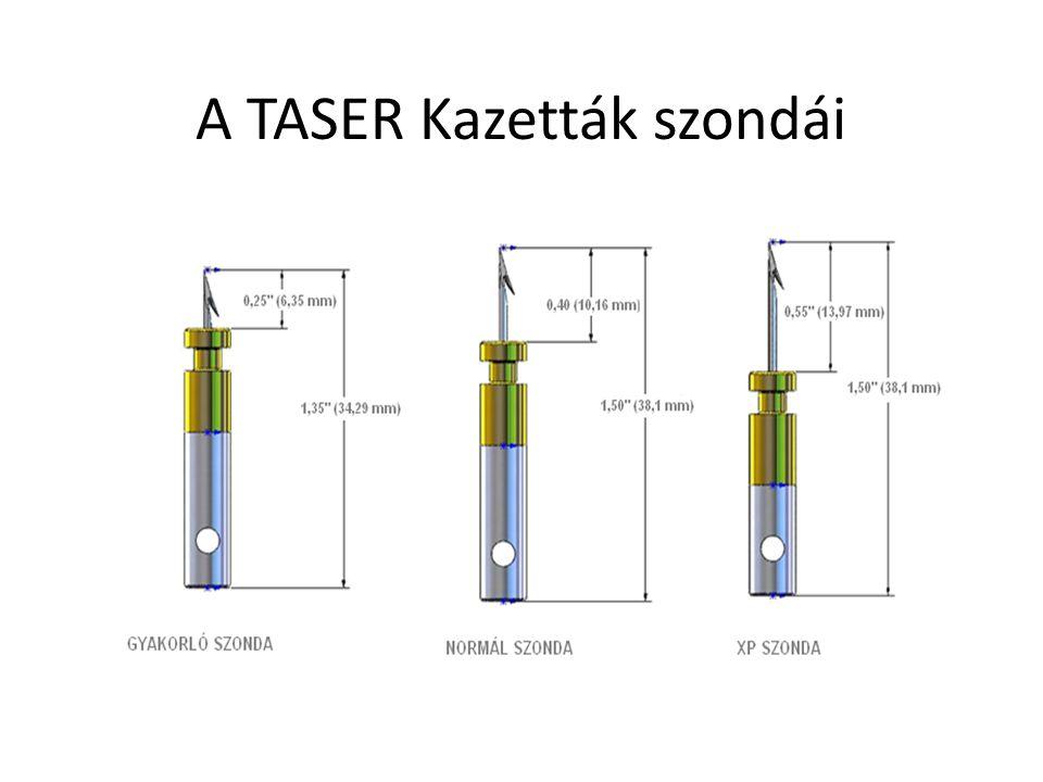 •Szabály: ~1 láb (.3 m) szóródás 7 láb (2.1 m) szakaszonként A TASER 15, 21 és 25 kazetták szondáinak szóródása (m).6m 1.5m 2.1m 3m 4.5m 6.4m 7.6m Cél távolsága (ft) 2′ 5' 7'10 15′ 21′ 25′ Szóródás (in) 4″ 9 13 18 26 36″ 38″ (cm)10cm 23cm 33cm 46cm 66cm 91cm 109cm