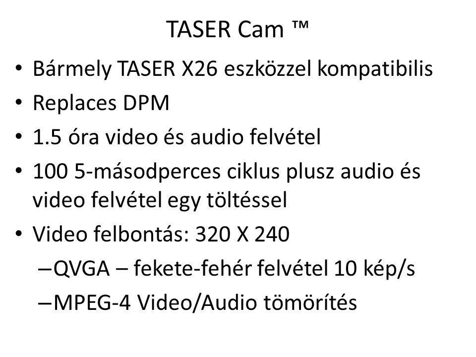 TASER Cam ™ • Beépített infravörös fényforrás rossz fényviszonyok között, illetve fénymentes környezetben • Figyelmeztető jelzés (kijelző+lézer), ha az optika takarásban van • USB letöltés • USB + AC hálózati töltő
