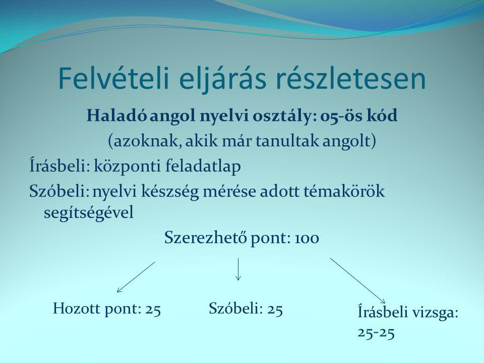 Felvételi eljárás részletesen Haladó angol nyelvi osztály: 05-ös kód (azoknak, akik már tanultak angolt) Írásbeli: központi feladatlap Szóbeli: nyelvi