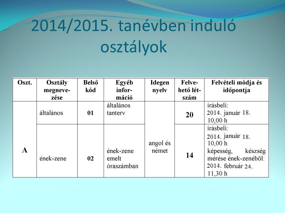 2014/2015. tanévben induló osztályok