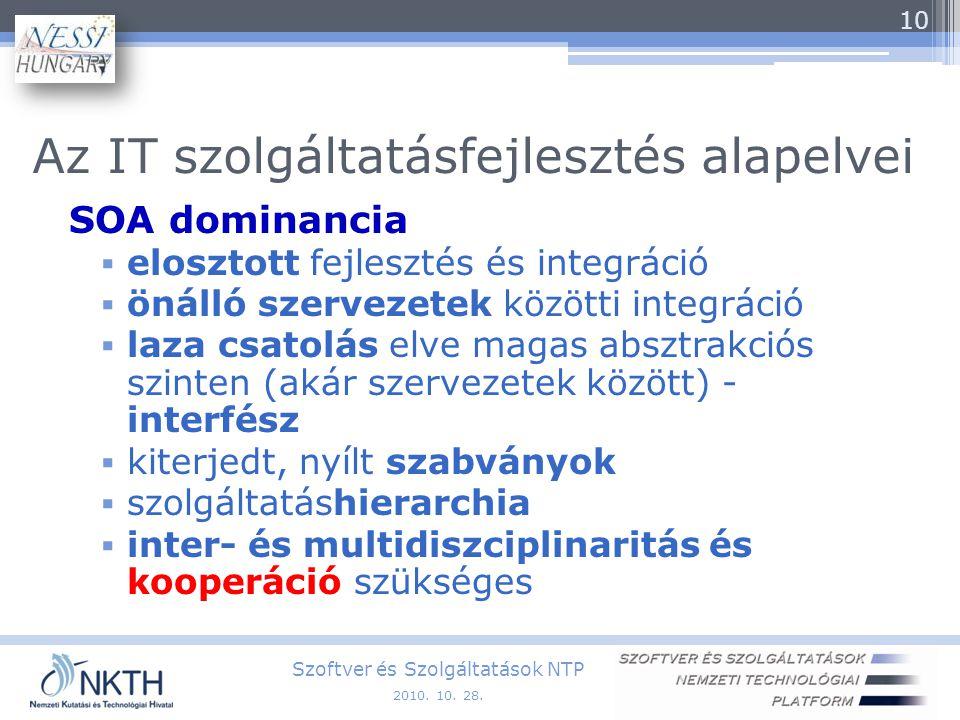 Az IT szolgáltatásfejlesztés alapelvei SOA dominancia  elosztott fejlesztés és integráció  önálló szervezetek közötti integráció  laza csatolás elve magas absztrakciós szinten (akár szervezetek között) - interfész  kiterjedt, nyílt szabványok  szolgáltatáshierarchia  inter- és multidiszciplinaritás és kooperáció szükséges Szoftver és Szolgáltatások NTP 10 2010.