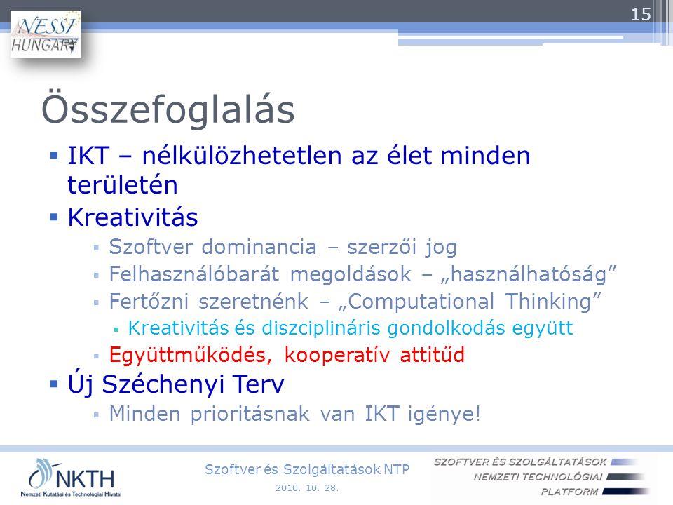 """Összefoglalás  IKT – nélkülözhetetlen az élet minden területén  Kreativitás  Szoftver dominancia – szerzői jog  Felhasználóbarát megoldások – """"használhatóság  Fertőzni szeretnénk – """"Computational Thinking  Kreativitás és diszciplináris gondolkodás együtt  Együttműködés, kooperatív attitűd  Új Széchenyi Terv  Minden prioritásnak van IKT igénye."""