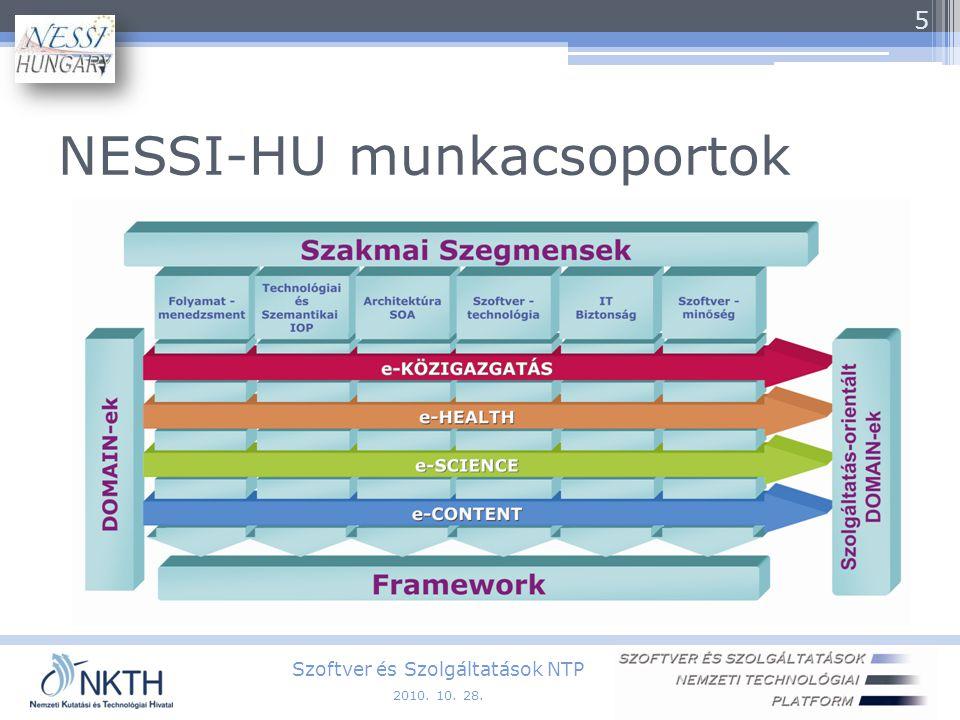 NESSI-HU munkacsoportok Szoftver és Szolgáltatások NTP 5 2010. 10. 28.