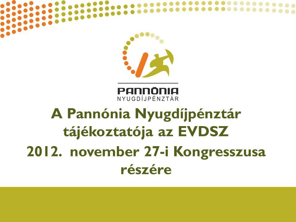 A Pannónia Nyugdíjpénztár tájékoztatója az EVDSZ 2012. november 27-i Kongresszusa részére