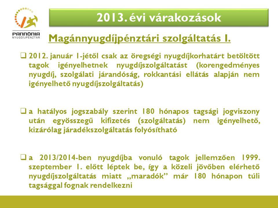 Magánnyugdíjpénztári szolgáltatás I.  2012. január 1-jétől csak az öregségi nyugdíjkorhatárt betöltött tagok igényelhetnek nyugdíjszolgáltatást (kore
