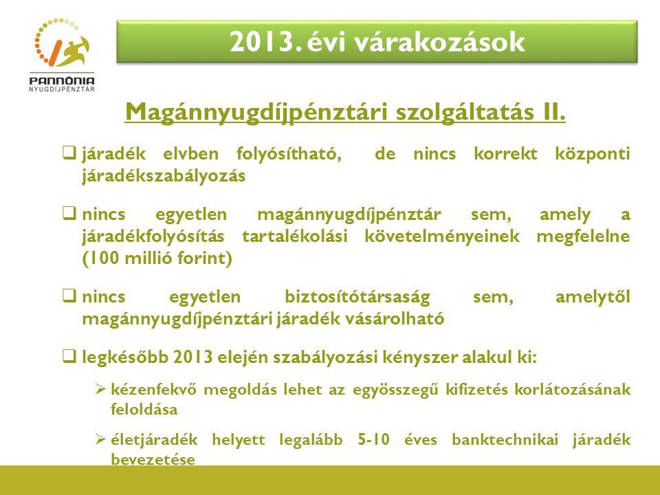 Magánnyugdíjpénztári szolgáltatás II.