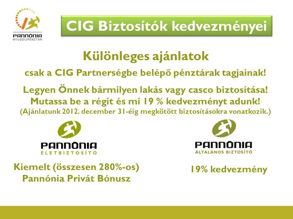 Különleges ajánlatok Kiemelt (összesen 280%-os) Pannónia Privát Bónusz csak a CIG Partnerségbe belépő pénztárak tagjainak! 19% kedvezmény CIG Biztosít