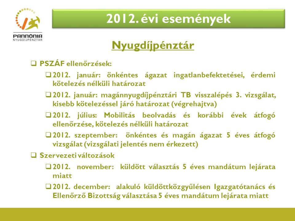 Nyugdíjpénztár  PSZÁF ellenőrzések:  2012. január: önkéntes ágazat ingatlanbefektetései, érdemi kötelezés nélküli határozat  2012. január: magánnyu