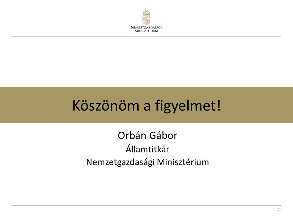 25 Köszönöm a figyelmet! Orbán Gábor Államtitkár Nemzetgazdasági Minisztérium