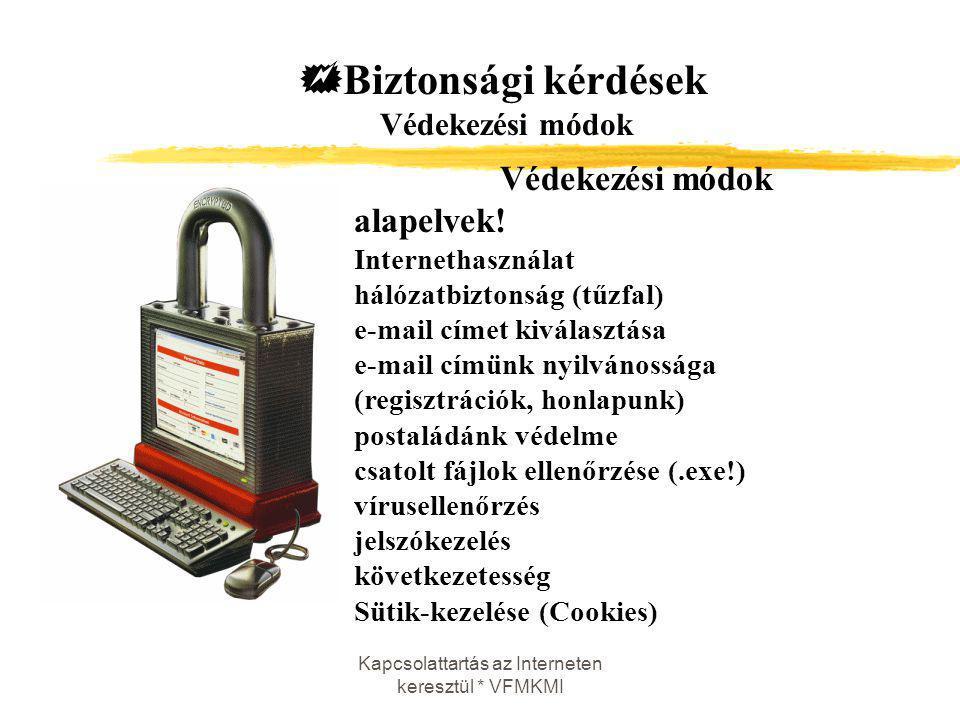 Kapcsolattartás az Interneten keresztül * VFMKMI Védekezési módok alapelvek! Internethasználat hálózatbiztonság (tűzfal) e-mail címet kiválasztása e-m