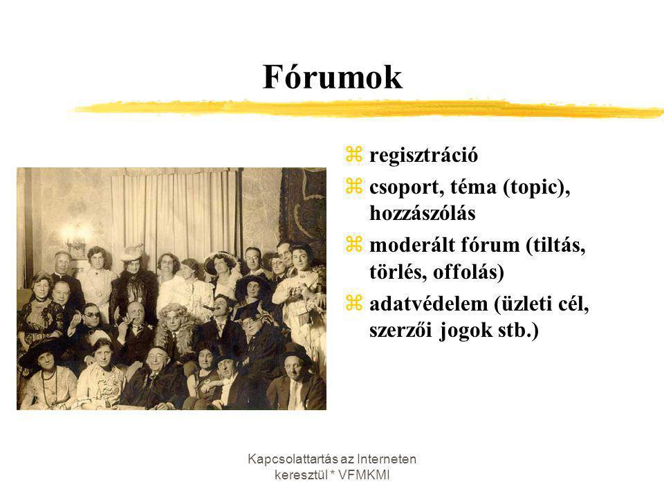 Kapcsolattartás az Interneten keresztül * VFMKMI Fórumok zregisztráció zcsoport, téma (topic), hozzászólás zmoderált fórum (tiltás, törlés, offolás) z