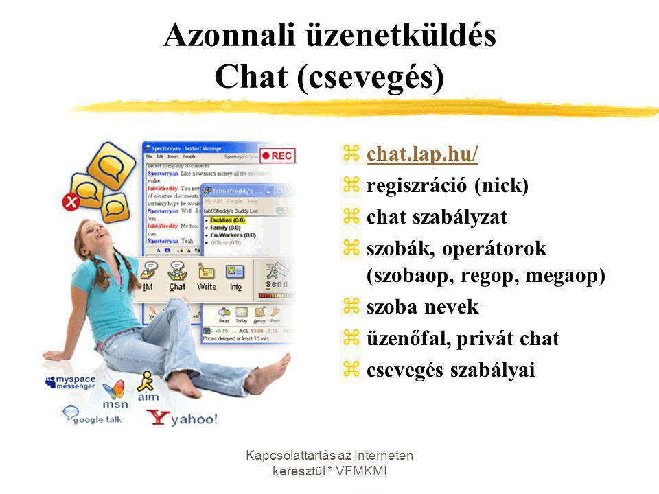 Kapcsolattartás az Interneten keresztül * VFMKMI Azonnali üzenetküldés Chat (csevegés) zchat.lap.hu/chat.lap.hu/ zregiszráció (nick) zchat szabályzat