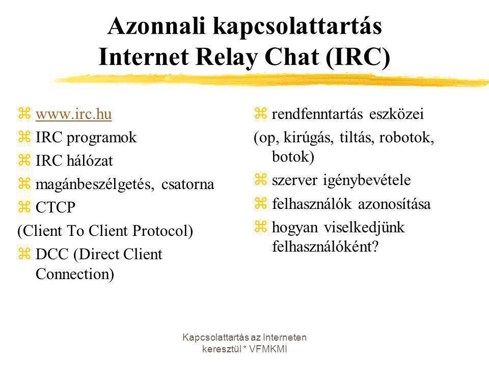Kapcsolattartás az Interneten keresztül * VFMKMI Azonnali kapcsolattartás Internet Relay Chat (IRC) zwww.irc.huwww.irc.hu zIRC programok zIRC hálózat