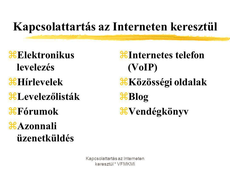 Kapcsolattartás az Interneten keresztül * VFMKMI Kapcsolattartás az Interneten keresztül zElektronikus levelezés zHírlevelek zLevelezőlisták zFórumok