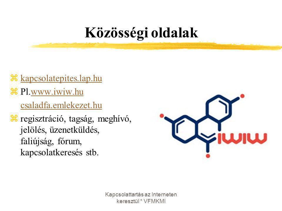 Kapcsolattartás az Interneten keresztül * VFMKMI Közösségi oldalak zkapcsolatepites.lap.hukapcsolatepites.lap.hu zPl.www.iwiw.huwww.iwiw.hu csaladfa.e