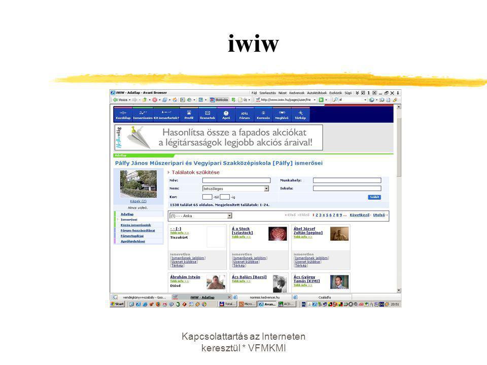 Kapcsolattartás az Interneten keresztül * VFMKMI iwiw