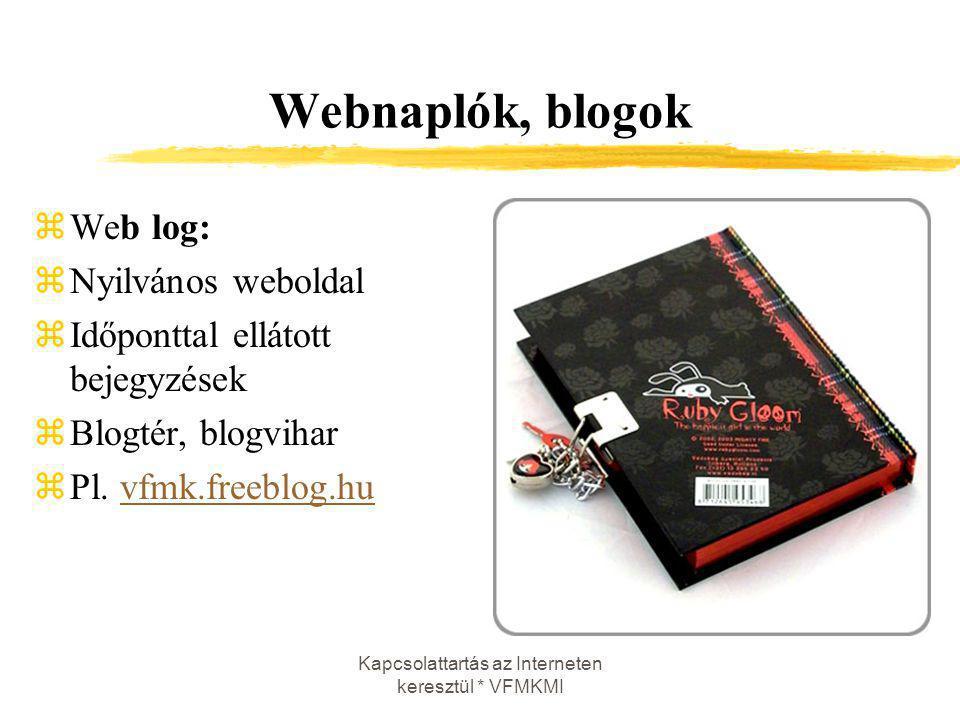 Kapcsolattartás az Interneten keresztül * VFMKMI Webnaplók, blogok zWeb log: zNyilvános weboldal zIdőponttal ellátott bejegyzések zBlogtér, blogvihar