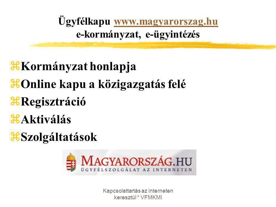 Kapcsolattartás az Interneten keresztül * VFMKMI Ügyfélkapu www.magyarorszag.hu e-kormányzat, e-ügyintézéswww.magyarorszag.hu zKormányzat honlapja zOn
