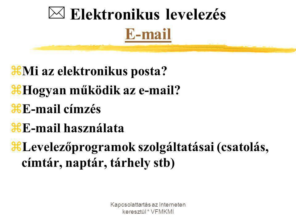 Kapcsolattartás az Interneten keresztül * VFMKMI Elektronikus levelezés E-mail E-mail zMi az elektronikus posta? zHogyan működik az e-mail? zE-mail cí
