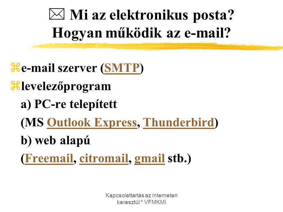 Kapcsolattartás az Interneten keresztül * VFMKMI  Mi az elektronikus posta? Hogyan működik az e-mail? ze-mail szerver (SMTP)SMTP zlevelezőprogram a)