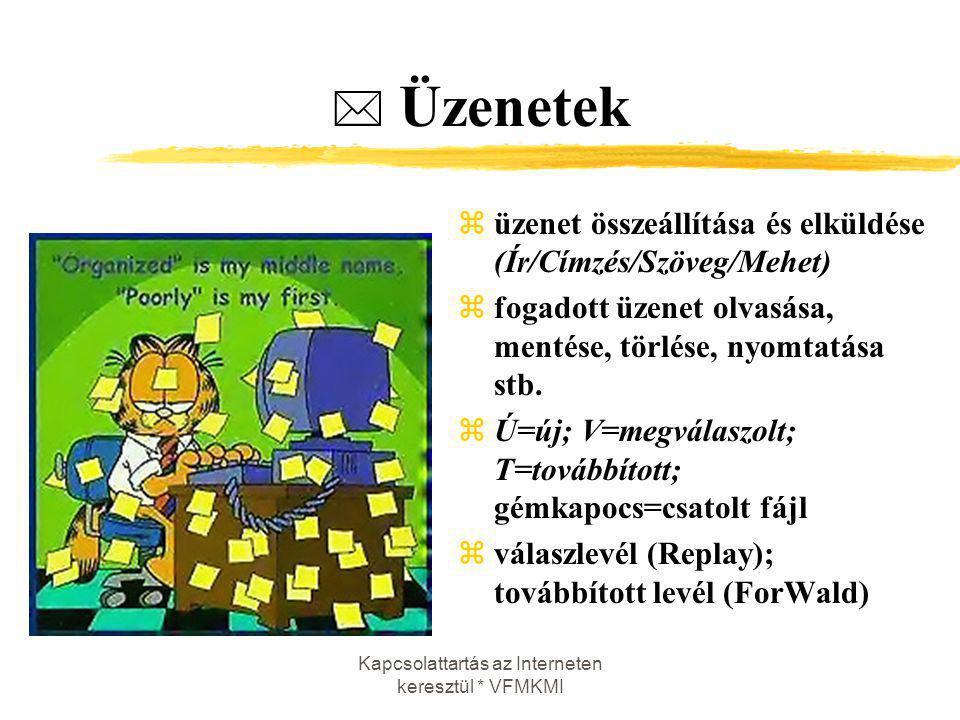 Kapcsolattartás az Interneten keresztül * VFMKMI  Üzenetek züzenet összeállítása és elküldése (Ír/Címzés/Szöveg/Mehet) zfogadott üzenet olvasása, men
