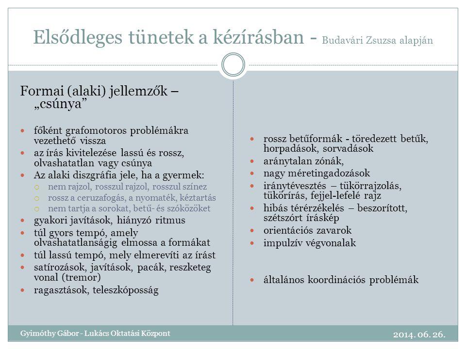 """Elsődleges tünetek a kézírásban - Budavári Zsuzsa alapján Formai (alaki) jellemzők – """"csúnya""""  főként grafomotoros problémákra vezethető vissza  az"""