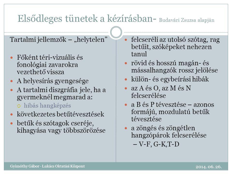 """Elsődleges tünetek a kézírásban- Budavári Zsuzsa alapján Tartalmi jellemzők – """"helytelen""""  Főként téri-vizuális és fonológiai zavarokra vezethető vis"""