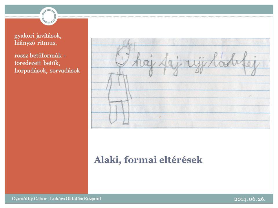 Alaki, formai eltérések gyakori javítások, hiányzó ritmus, rossz betűformák - töredezett betűk, horpadások, sorvadások 2014. 06. 26. Gyimóthy Gábor -