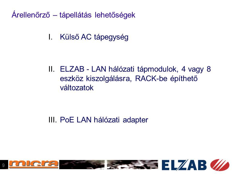 Árellenőrző – tápellátás lehetőségek I.Külső AC tápegység II.ELZAB - LAN hálózati tápmodulok, 4 vagy 8 eszköz kiszolgálásra, RACK-be építhető változatok III.PoE LAN hálózati adapter 9