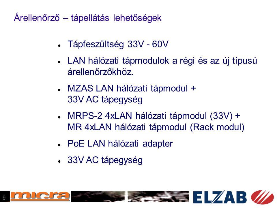 Árellenőrző – tápellátás lehetőségek  Tápfeszültség 33V - 60V  LAN hálózati tápmodulok a régi és az új típusú árellenőrzőkhöz.