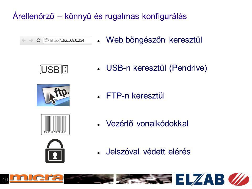 Árellenőrző – könnyű és rugalmas konfigurálás  Web böngészőn keresztül  USB-n keresztül (Pendrive)  FTP-n keresztül  Vezérlő vonalkódokkal  Jelszóval védett elérés 10
