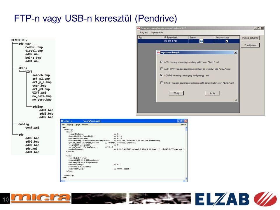 FTP-n vagy USB-n keresztül (Pendrive) 10