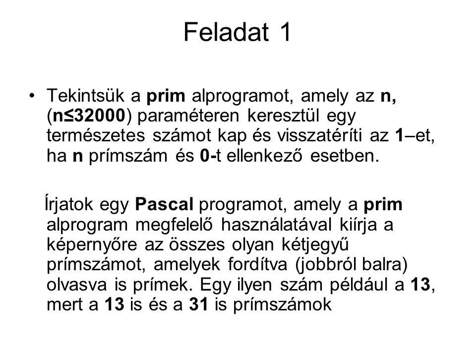 Feladat 1 •Tekintsük a prim alprogramot, amely az n, (n≤32000) paraméteren keresztül egy természetes számot kap és visszatéríti az 1–et, ha n prímszám és 0-t ellenkező esetben.