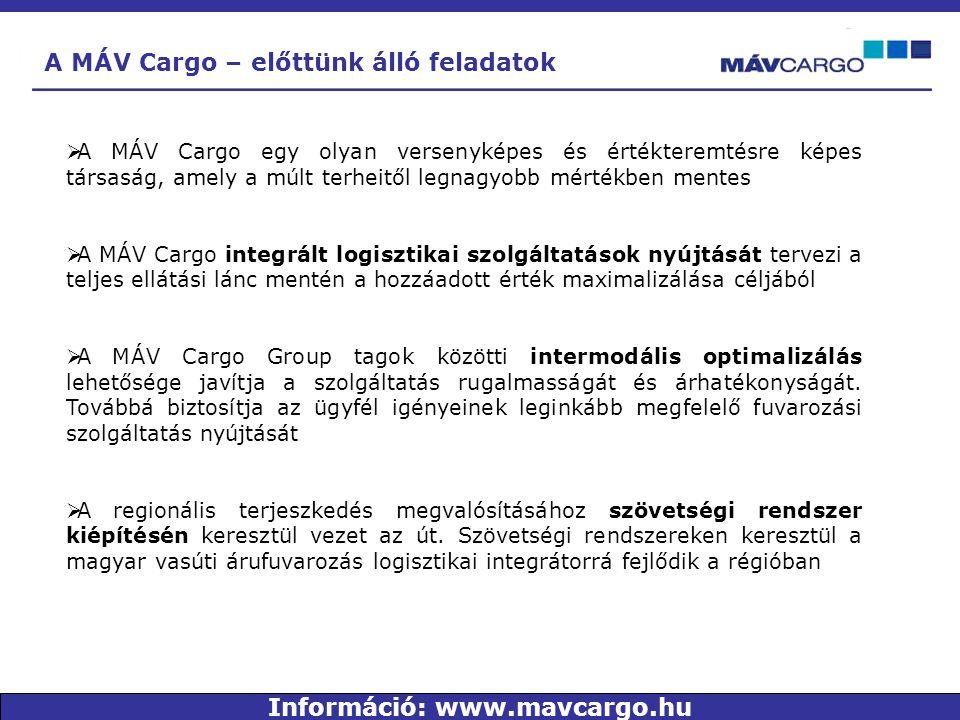 A MÁV Cargo – előttünk álló feladatok  A MÁV Cargo egy olyan versenyképes és értékteremtésre képes társaság, amely a múlt terheitől legnagyobb mértékben mentes  A MÁV Cargo integrált logisztikai szolgáltatások nyújtását tervezi a teljes ellátási lánc mentén a hozzáadott érték maximalizálása céljából  A MÁV Cargo Group tagok közötti intermodális optimalizálás lehetősége javítja a szolgáltatás rugalmasságát és árhatékonyságát.