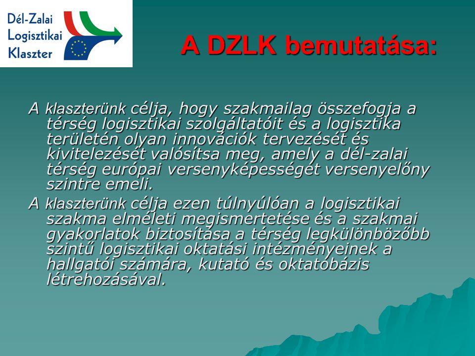 A DZLK bemutatása: A DZLK bemutatása: A klaszterünk célja, hogy szakmailag összefogja a térség logisztikai szolgáltatóit és a logisztika területén olyan innovációk tervezését és kivitelezését valósítsa meg, amely a dél-zalai térség európai versenyképességét versenyelőny szintre emeli.