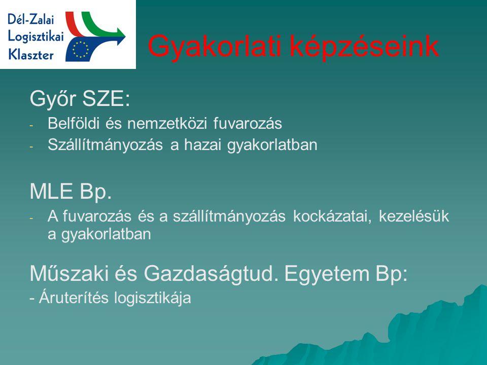 Gyakorlati képzéseink Győr SZE: - - Belföldi és nemzetközi fuvarozás - - Szállítmányozás a hazai gyakorlatban MLE Bp.