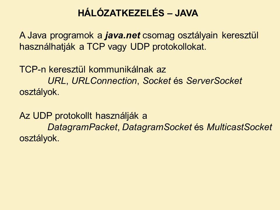A Java programok a java.net csomag osztályain keresztül használhatják a TCP vagy UDP protokollokat. TCP-n keresztül kommunikálnak az URL, URLConnectio