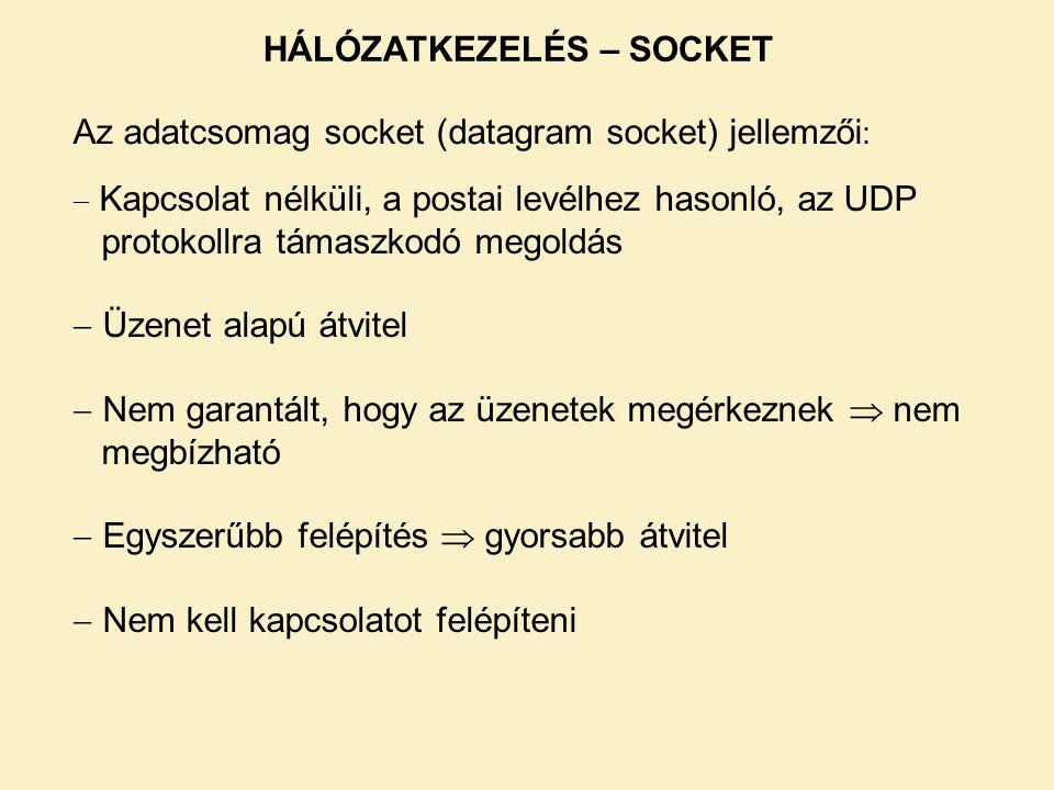 Az adatcsomag socket (datagram socket) jellemzői :  Kapcsolat nélküli, a postai levélhez hasonló, az UDP protokollra támaszkodó megoldás  Üzenet ala