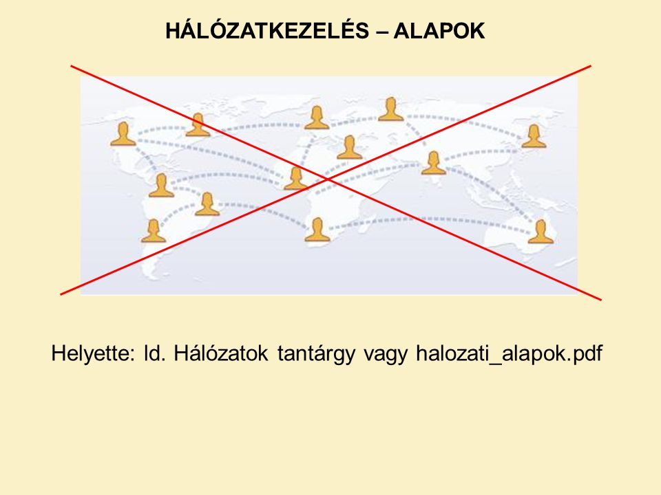 HÁLÓZATKEZELÉS – ALAPOK Helyette: ld. Hálózatok tantárgy vagy halozati_alapok.pdf