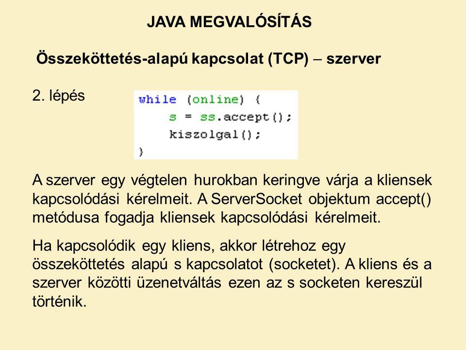 Összeköttetés-alapú kapcsolat (TCP) – szerver 2. lépés A szerver egy végtelen hurokban keringve várja a kliensek kapcsolódási kérelmeit. A ServerSocke